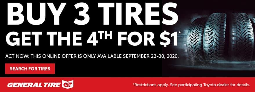 Buy 3 get 1 free on tires.