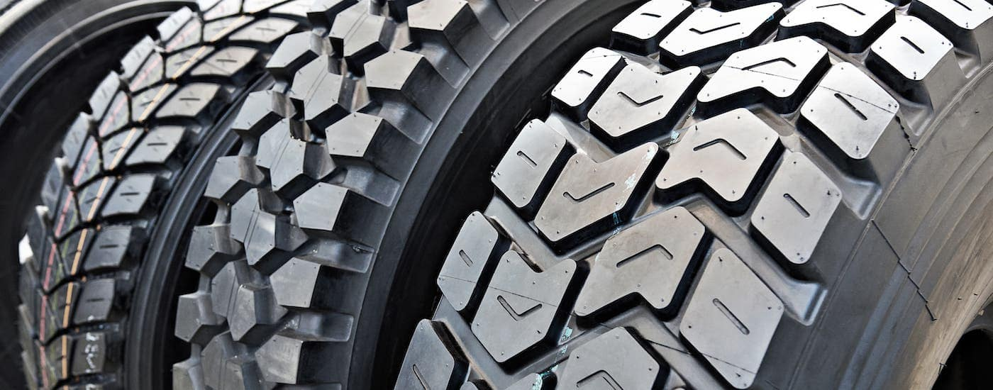 A row of different tire types are shown.