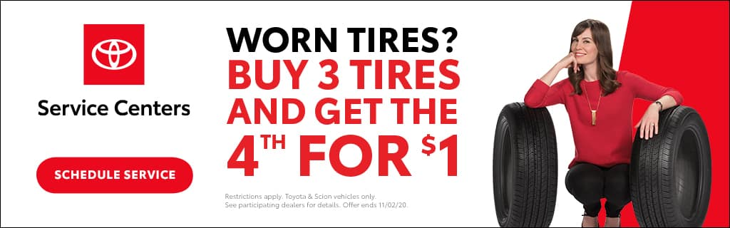 Romeoville Toyota Buy 3 Tires and Get the 4th for $1