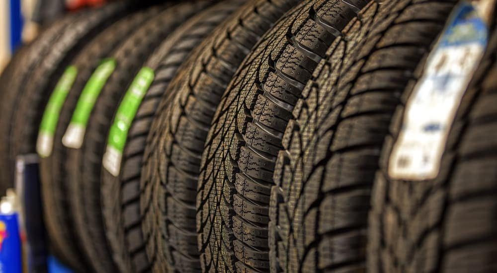 A rack of tires is shown at a shop in Romeoville, IL.