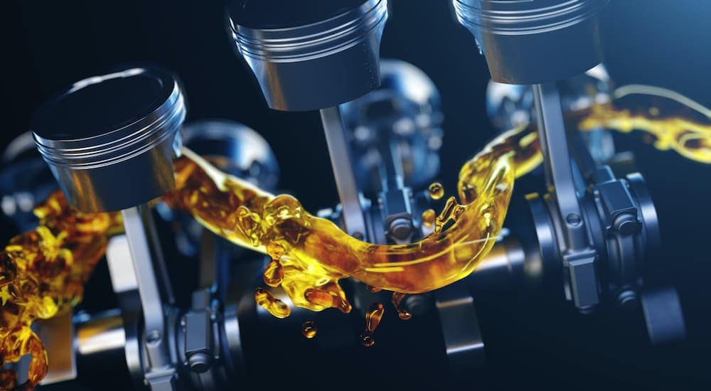 An image is showing oil flowing between rods and pistons.