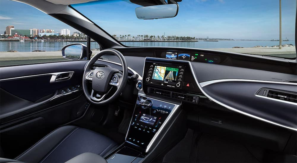 A black interior is shown on the 2021 Toyota Mirai.