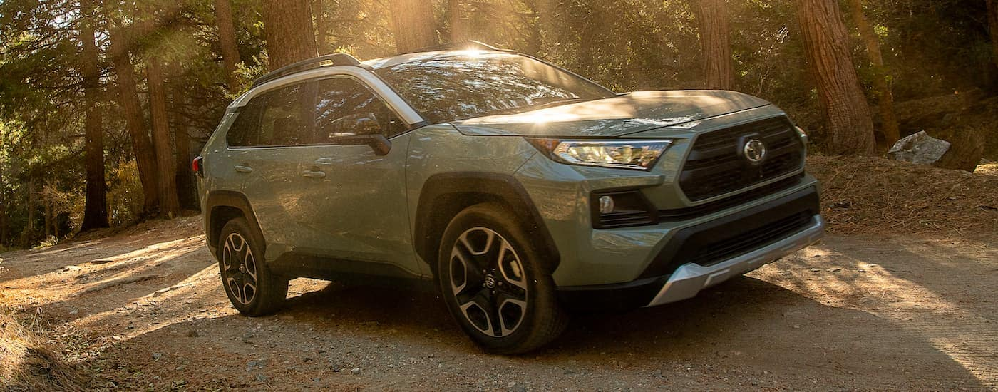 A pale green 2021 Toyota RAV4 is shown from the side driving through the woods.