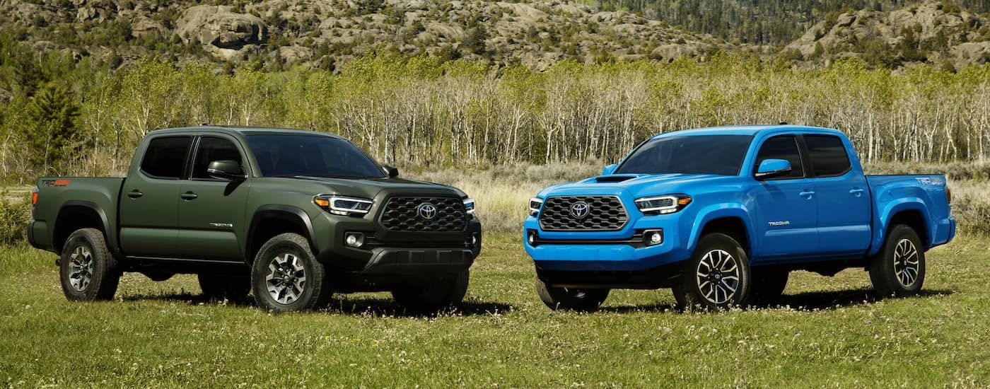 A green and a blue 2021 Toyota Tacoma are parked on grass in front of a hill.