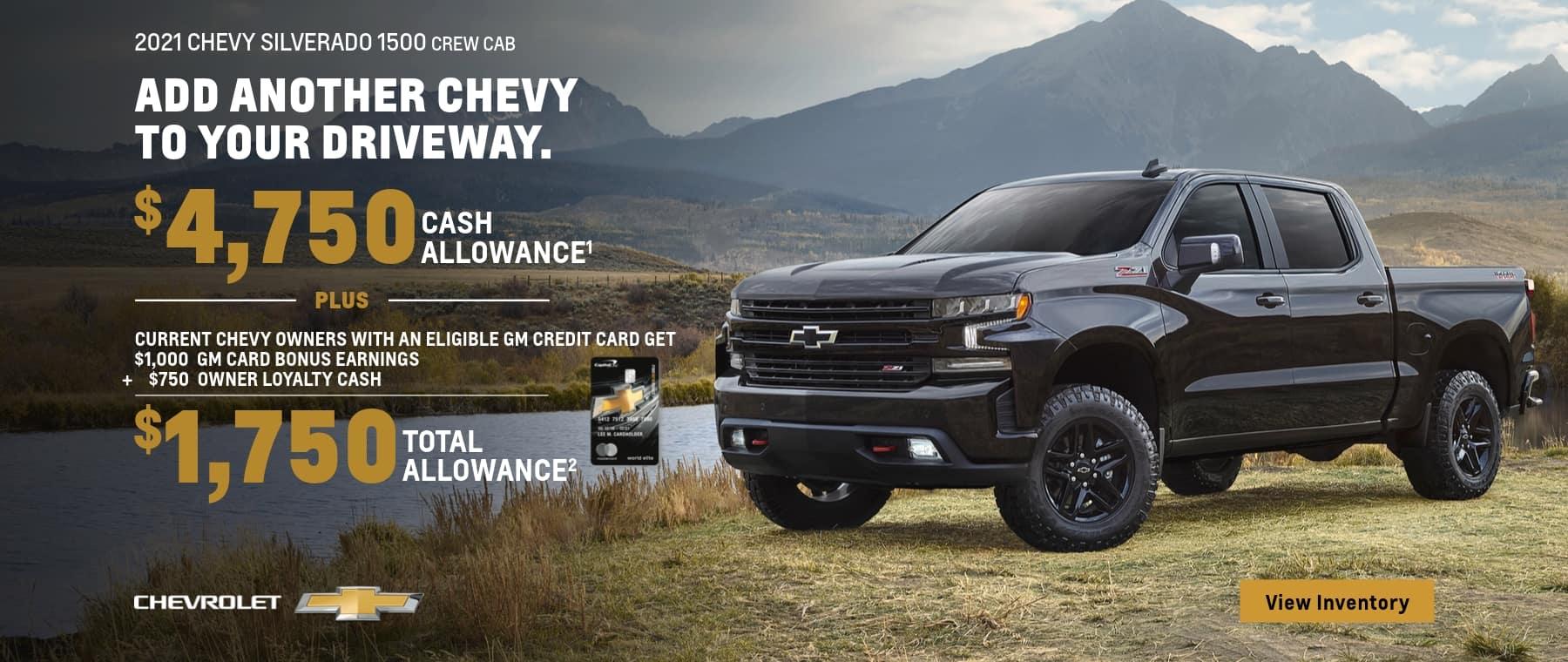 2021 Chevy Silverado 1500 Crew Cab $4,750 Cash allowance plus $1,750