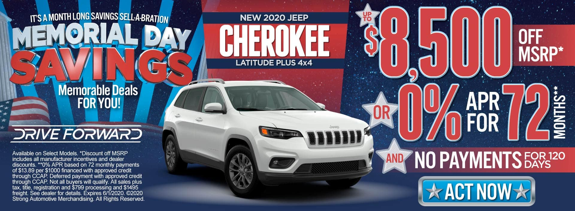 New 2020 Jeep Cherokee - Up to $8,500 off MSRP or 0% for 72 months and No Payments for 120 Days - Click to View Inventory