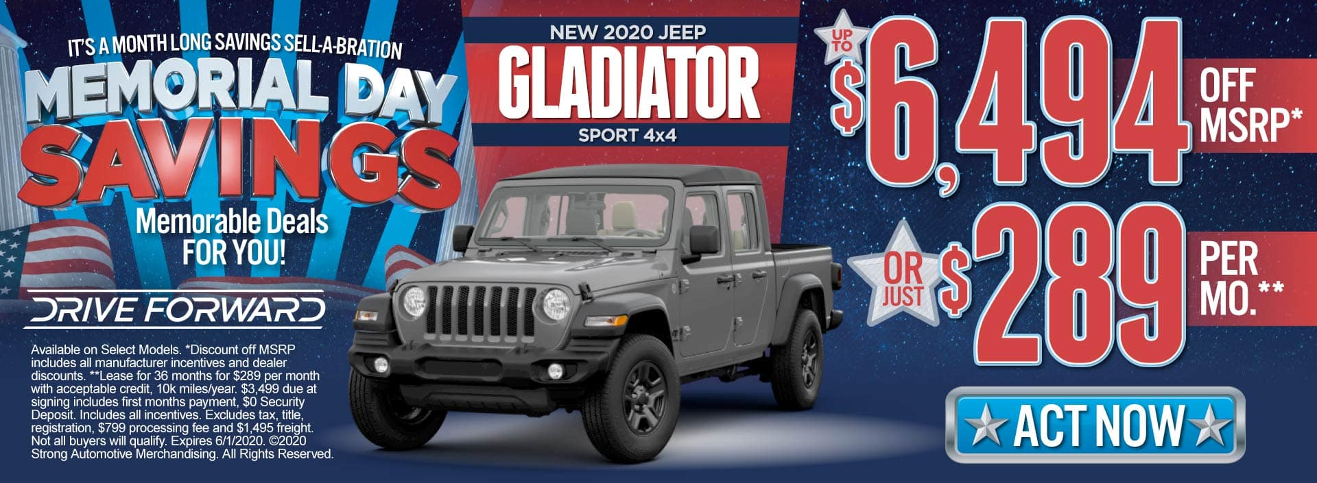 New 2020 Jeep Gladiator - Up to $6,494 off MSRP or just $289 per month - Click to View Inventory