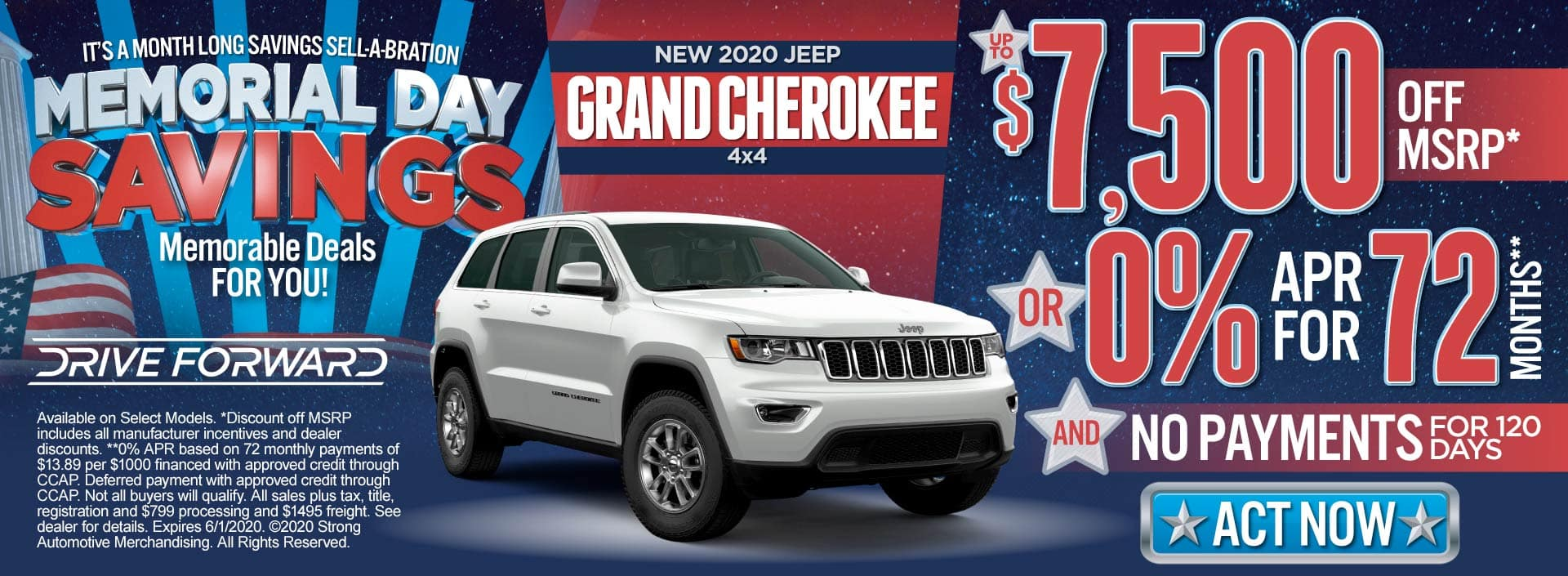 New 2020 Jeep Grand Cherokee - Up to $7,500 off MSRP or 0% for 72 months and No Payments for 120 Days - Click to View Inventory