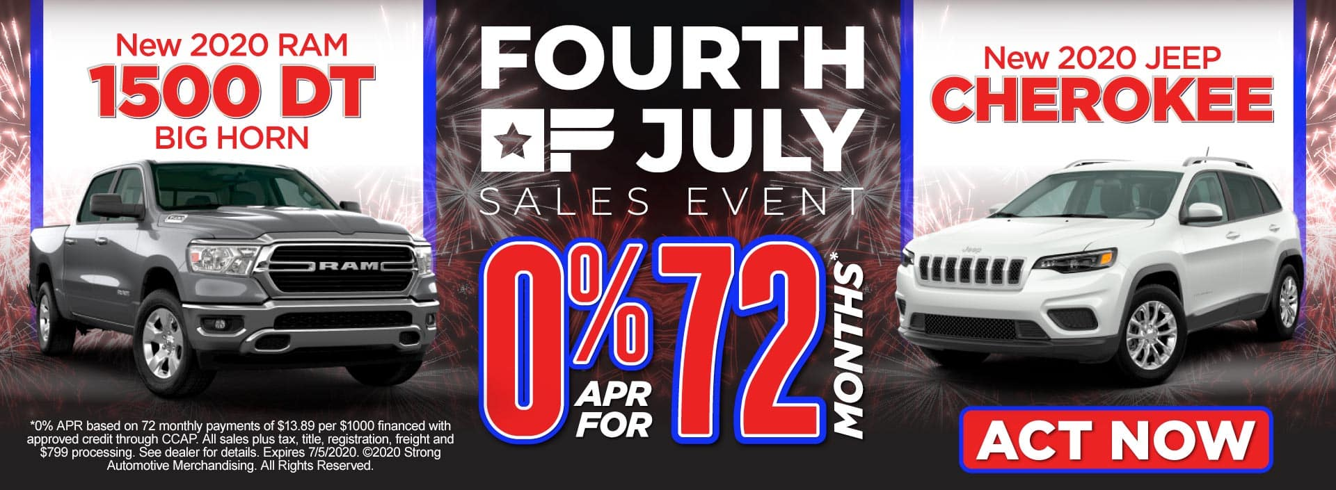 New 2020 Ram 1500 DT Big Horn and New 2020 Jeep Cherokee - 0% APR for 72 months - Click to View Inventory
