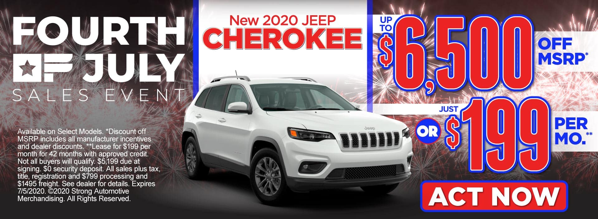 New 2020 Jeep Cherokee – up to $6,500 off MSRP* or just $199 per month** – Click to View Inventory