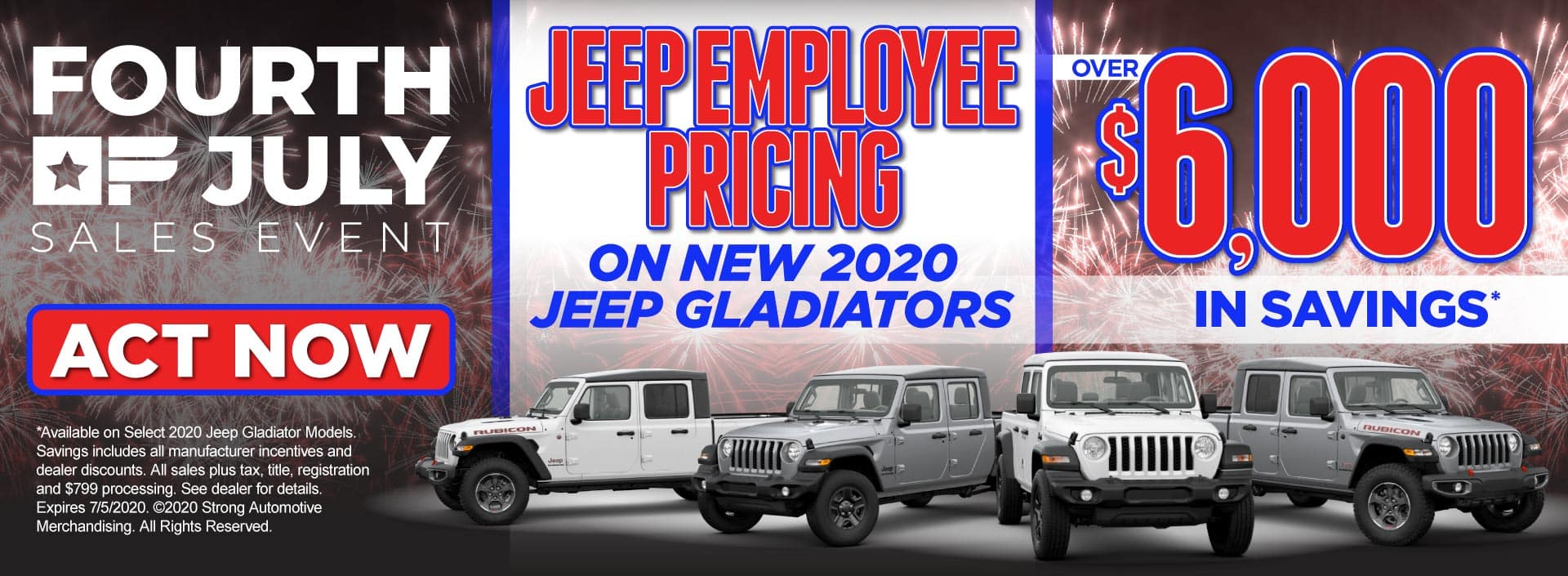Jeep Employee Pricing on New 2020 Jeep Gladiators – Over $6,000 in savings* – Click to View Inventory