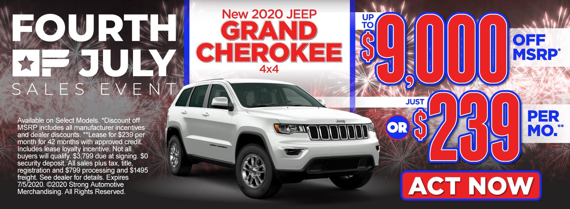 New 2020 Jeep Grand Cherokee – up to $9,000 off MSRP* or just $239 per month** – Click to View Inventory