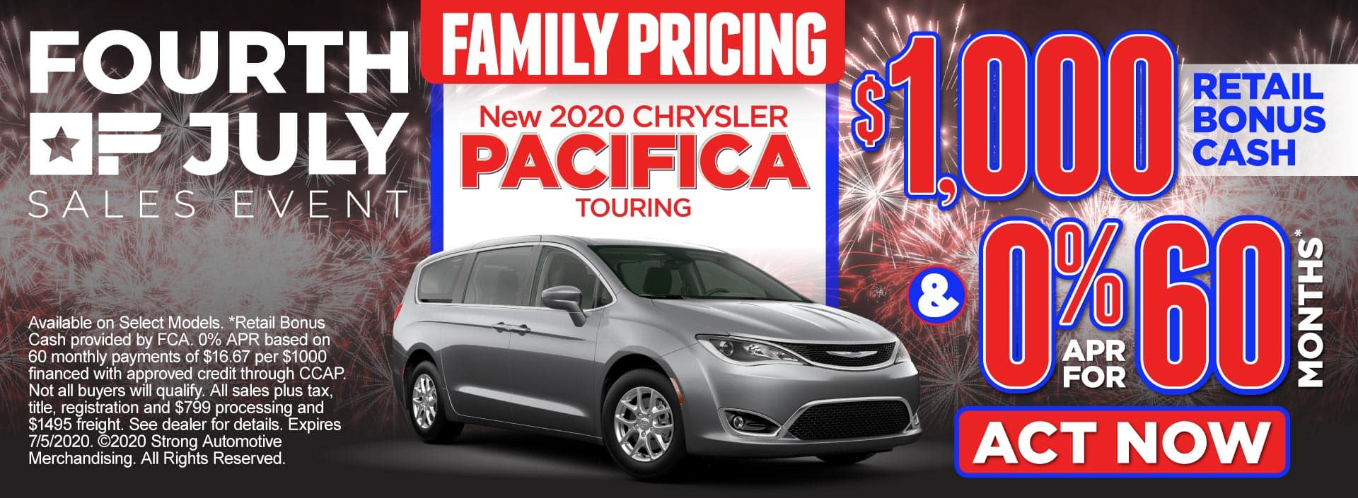 Family Pricing on the New 2020 Chrysler Pacifica - $1,000 retail bonus cash and 0% APR for 60 months* – Click to View Inventory