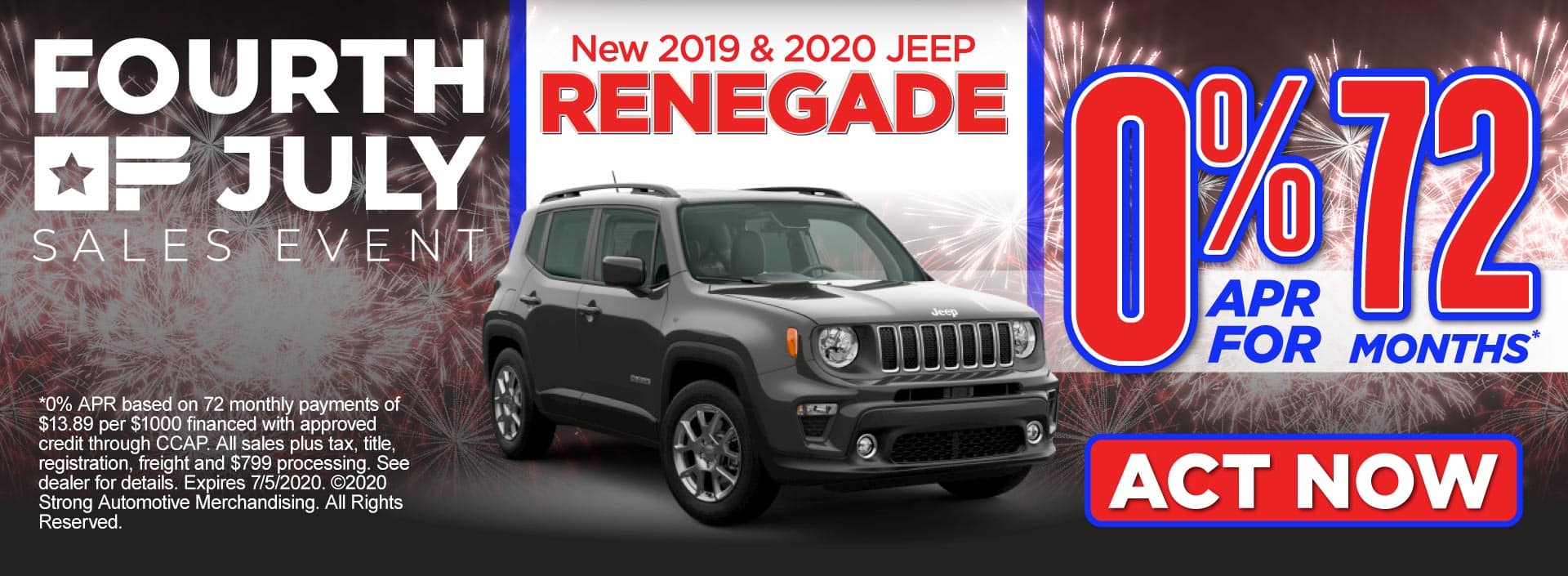 2019 & 2020 Jeep Renegade - 0% APR for 72 months - Click to View Inventory