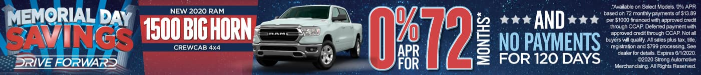 New 2020 Ram 1500 - 0% for 72 months and No Payments for 120 Days