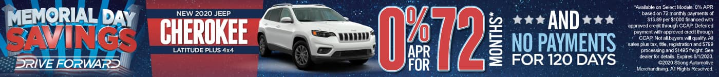New 2020 Jeep Cherokee - 0% for 72 months and No Payments for 120 Days