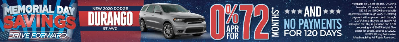 New 2020 Dodge Durango - 0% for 72 months and No Payments for 120 Days