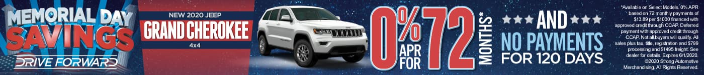 New 2020 Jeep Grand Cherokee - 0% for 72 months and No Payments for 120 Days