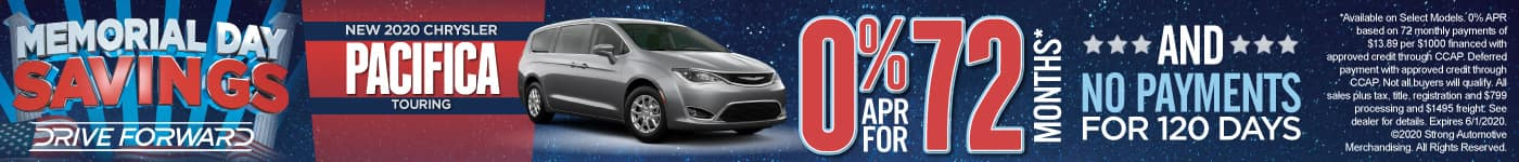 New 2020 Chrysler Pacifica - 0% for 72 months and No Payments for 120 Days