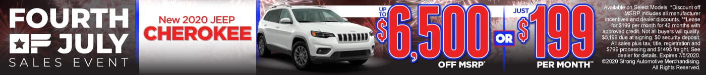 New 2020 Jeep Cherokee – up to $6,500 off MSRP* or just $199 per month**
