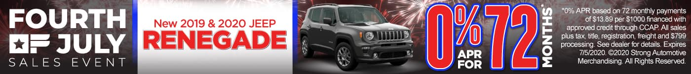 2019 & 2020 Jeep Renegade - 0% APR for 72 months