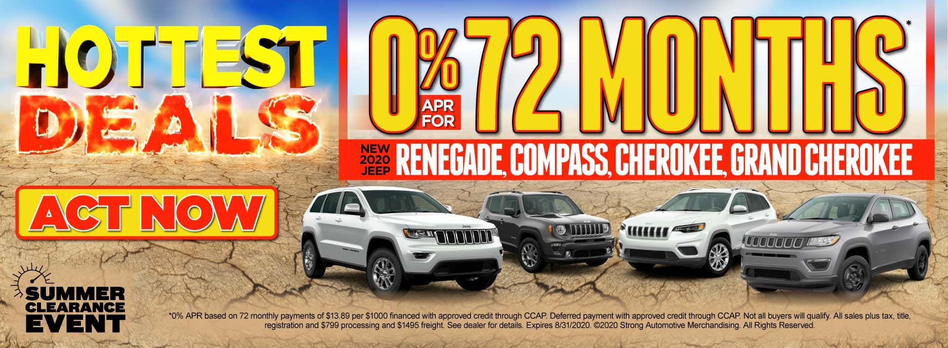 0% APR for 72 months on new 2020 Jeep Renegade, Compass, Cherokee, and Grand Cherokee - Click to View Inventory
