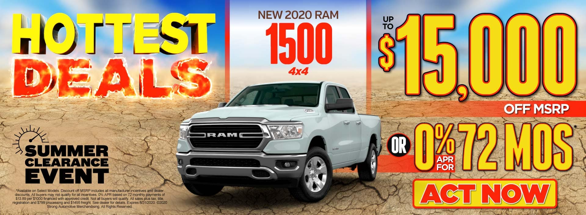 New 2020 Ram 1500 4x4 - up to $15,000 off MSRP or 0% APR for 72 months - Click to View Inventory