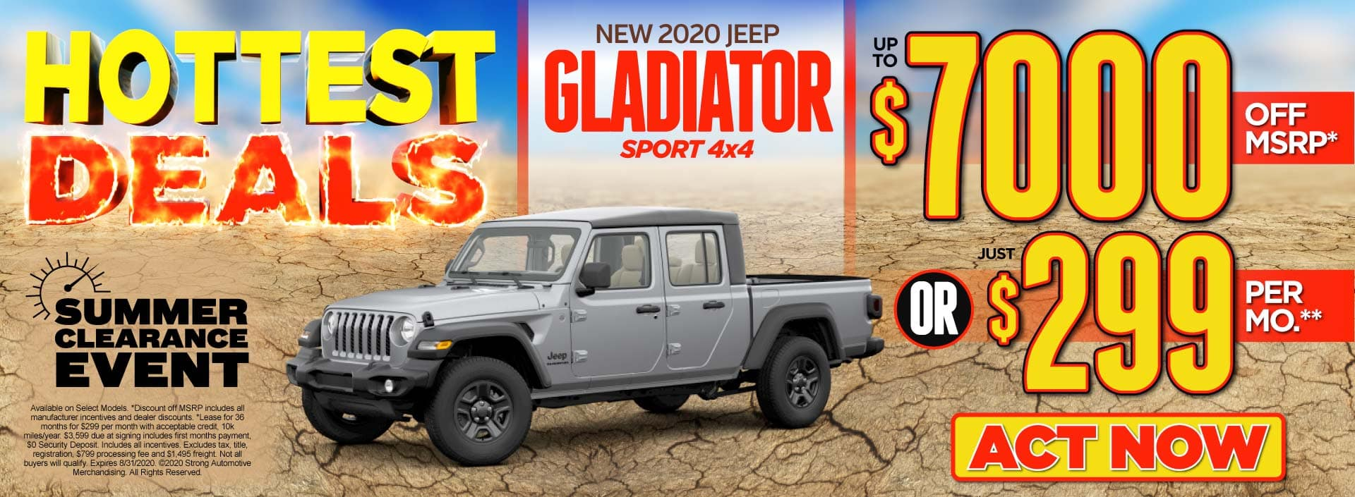 New 2020 Jeep Gladiator Sport 4x4 - up to $7000 off MSRP or just $299 per month - Click to View Inventory