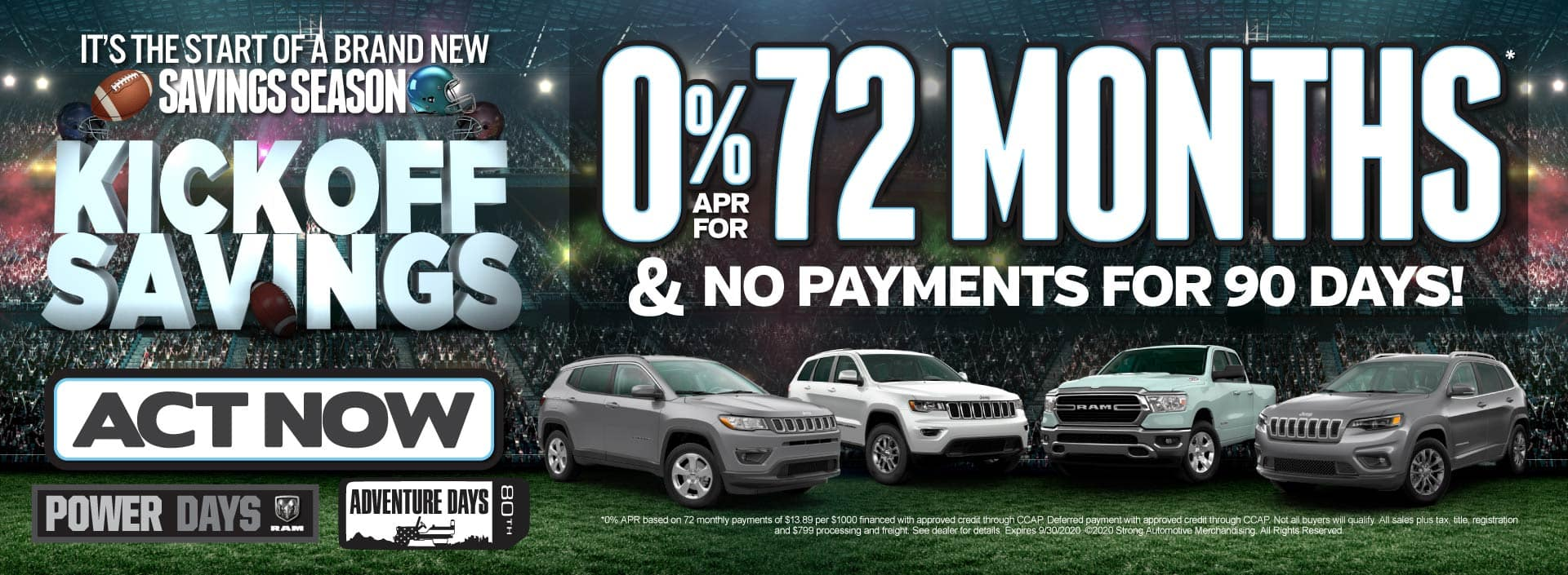 0% APR for 72 month and no payments for 90 days - Click to View Inventory
