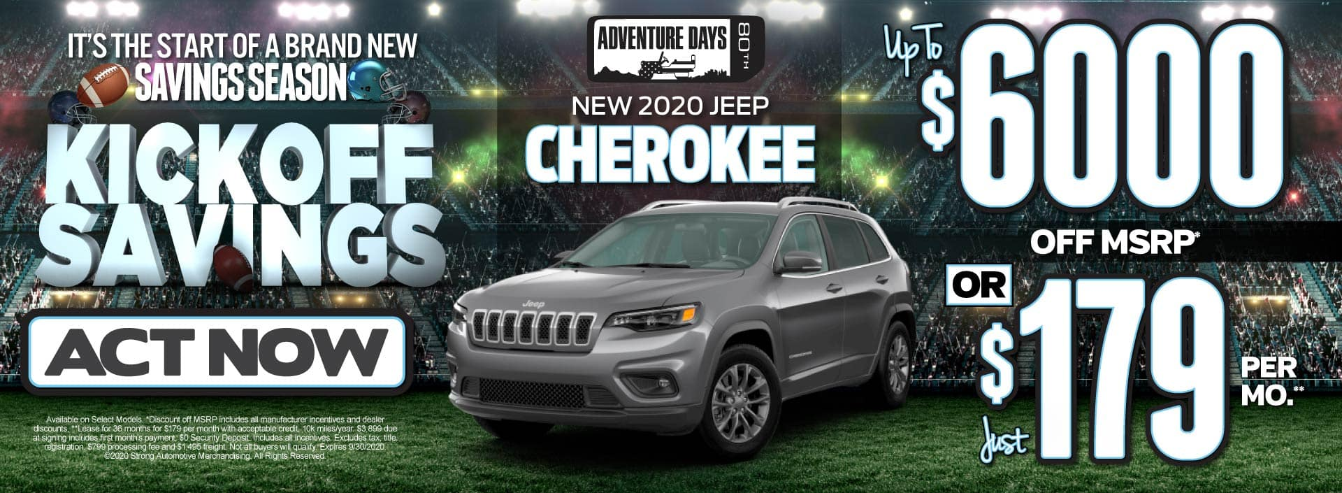 New 2020 Jeep Cherokee - up to $6000 off MSRP or just $179 per month - Click to View Inventory