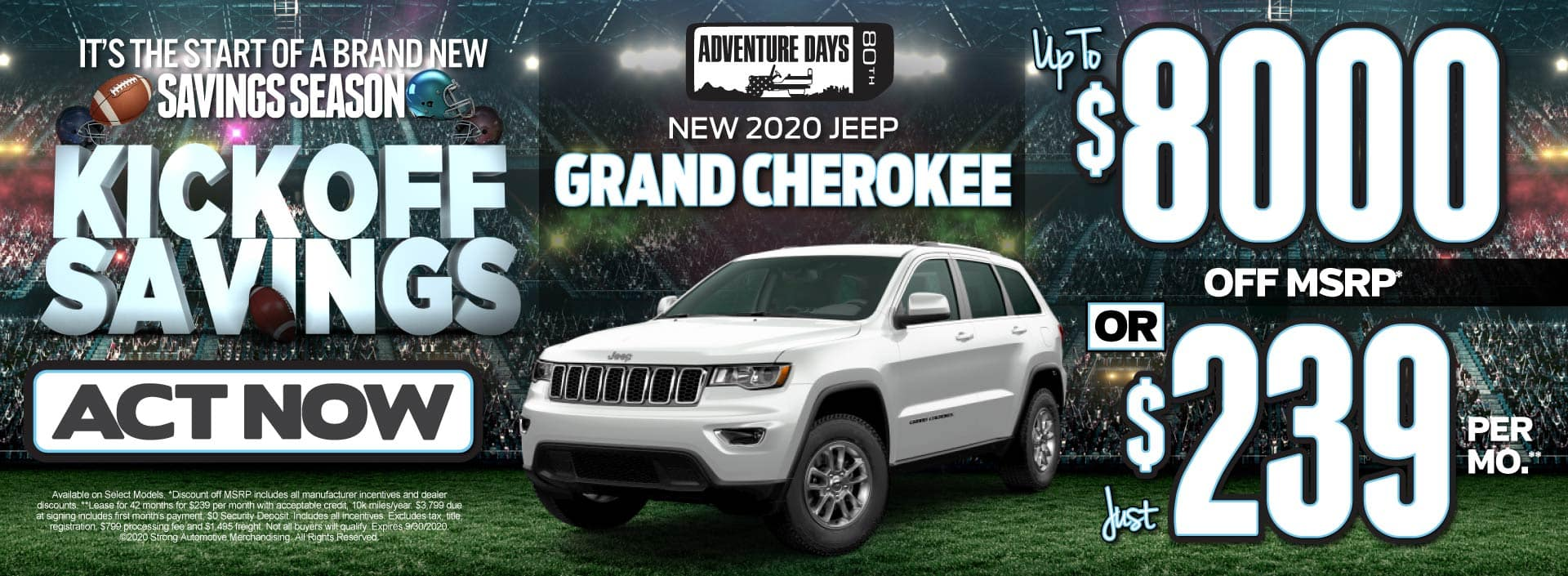 New 2020 Jeep Grand Cherokee - up to $8000 off MSRP or just $239 per month - Click to View Inventory