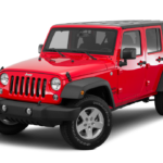A red 2016 Jeep Wrangler pictured against a plain white background