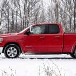 ram truck in the snow
