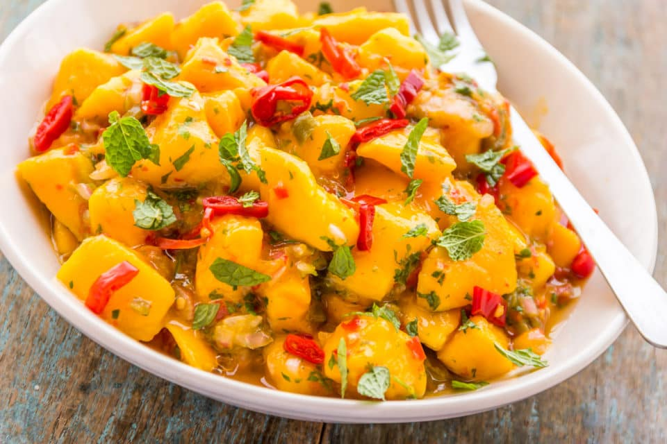 close up shot of mango salsa in a white bowl with a fork