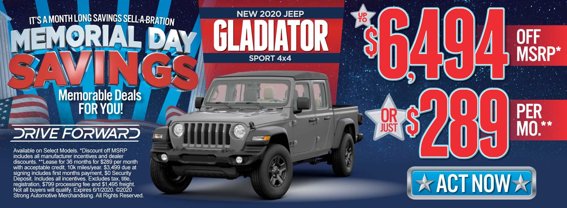 New 2020 Jeep Gladiator up to $6494 Off MSRP or $289/mo. ACT NOW