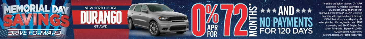 New 2020 Dodge Durango - 0% APR for 72 months and No Payments for 120 Days