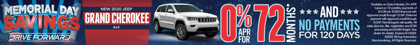 New 2020 Jeep Grand Cherokee 0% APR for 72 months and No Payments for 120 days