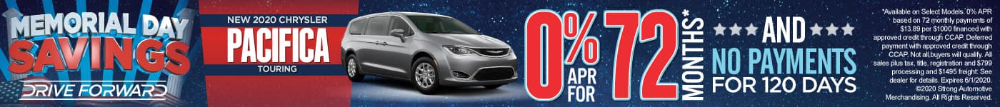 New 2020 Chrysler Pacifica - 0% APR for 72 months and No Payments for 120 Days