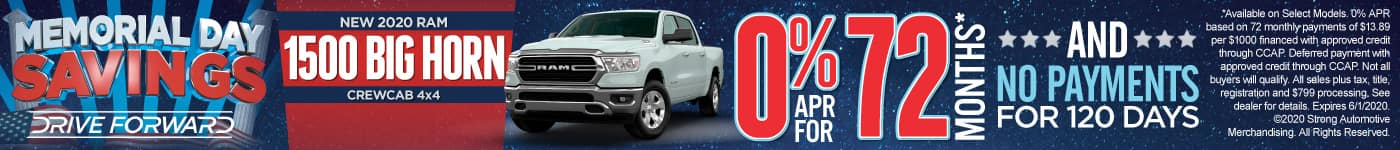 New 2020 Ram 1500 - 0% APR for 72 months and No Payments for 120 Days