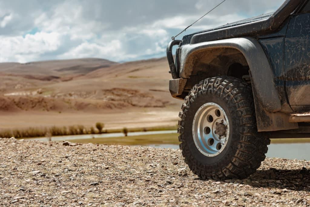 Closeup photo of mud terrain wheel