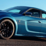 Blue Charger SRT Hellcat Widebody on a desert highway