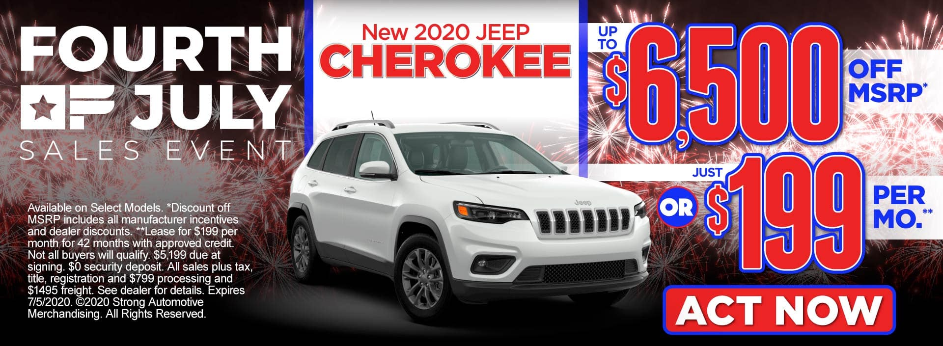 New 2020 Jeep Cherokee – up to $6,500 off MSRP* or just $199 per month** – Act Now