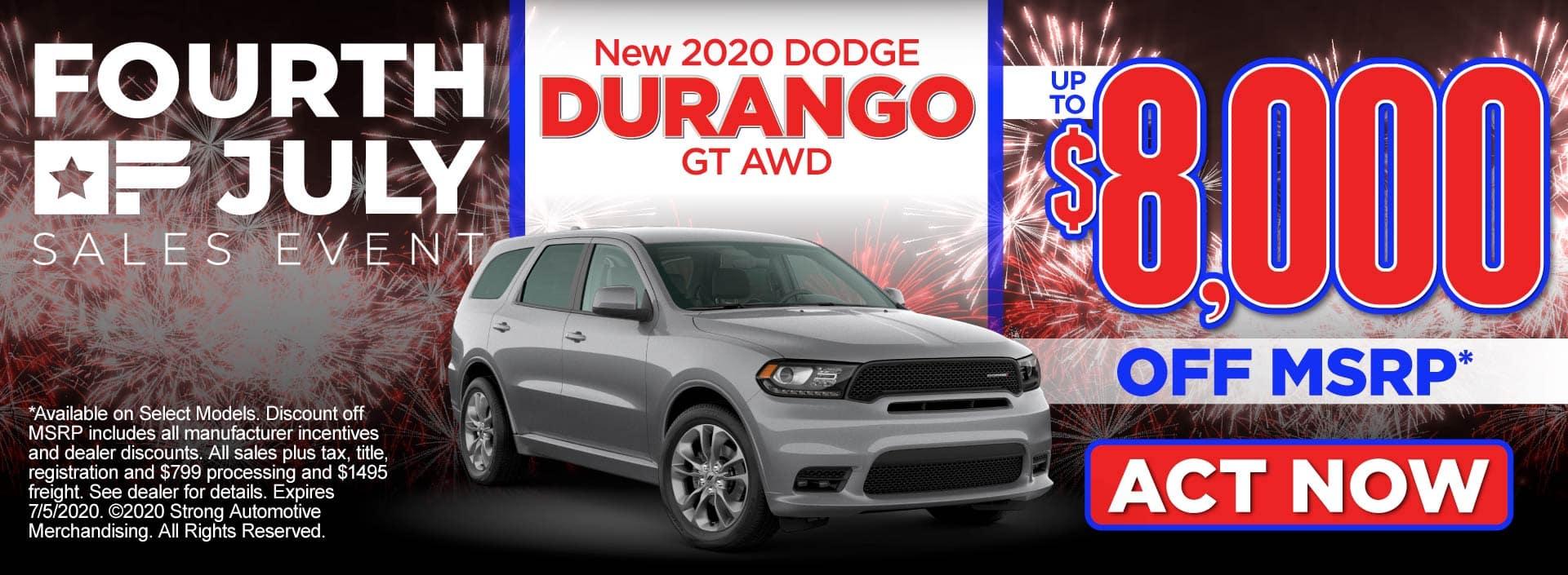 New 2020 Dodge Durango – up to $8,000 off MSRP* – Act Now