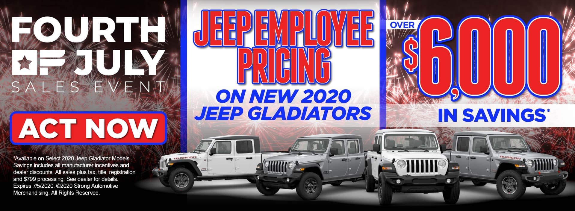 Jeep Employee Pricing on New 2020 Jeep Gladiators – Over $6,000 in savings* – View Inventory