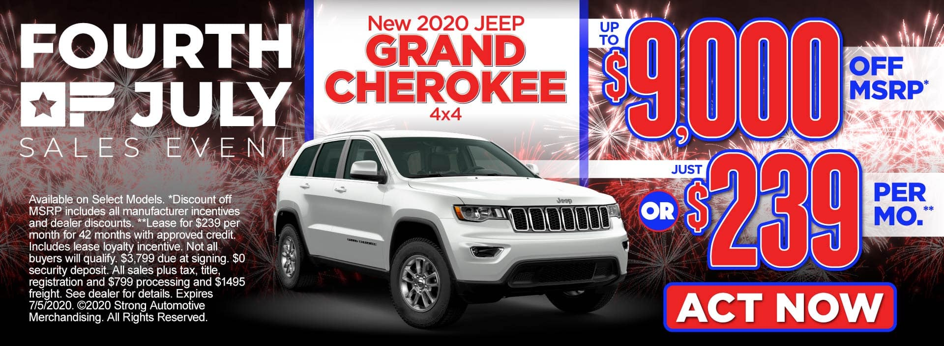 New 2020 Jeep Grand Cherokee – up to $9,000 off MSRP* or just $239 per month** – Act Now
