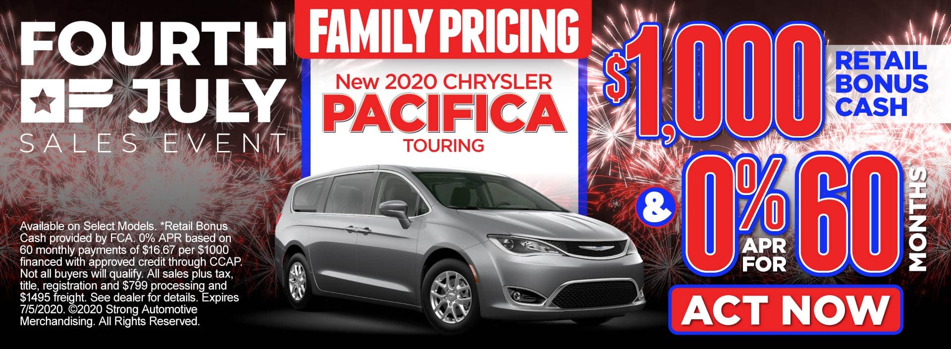 Family Pricing on the New 2020 Chrysler Pacifica - $1,000 retail bonus cash and 0% APR for 60 months* - Act Now