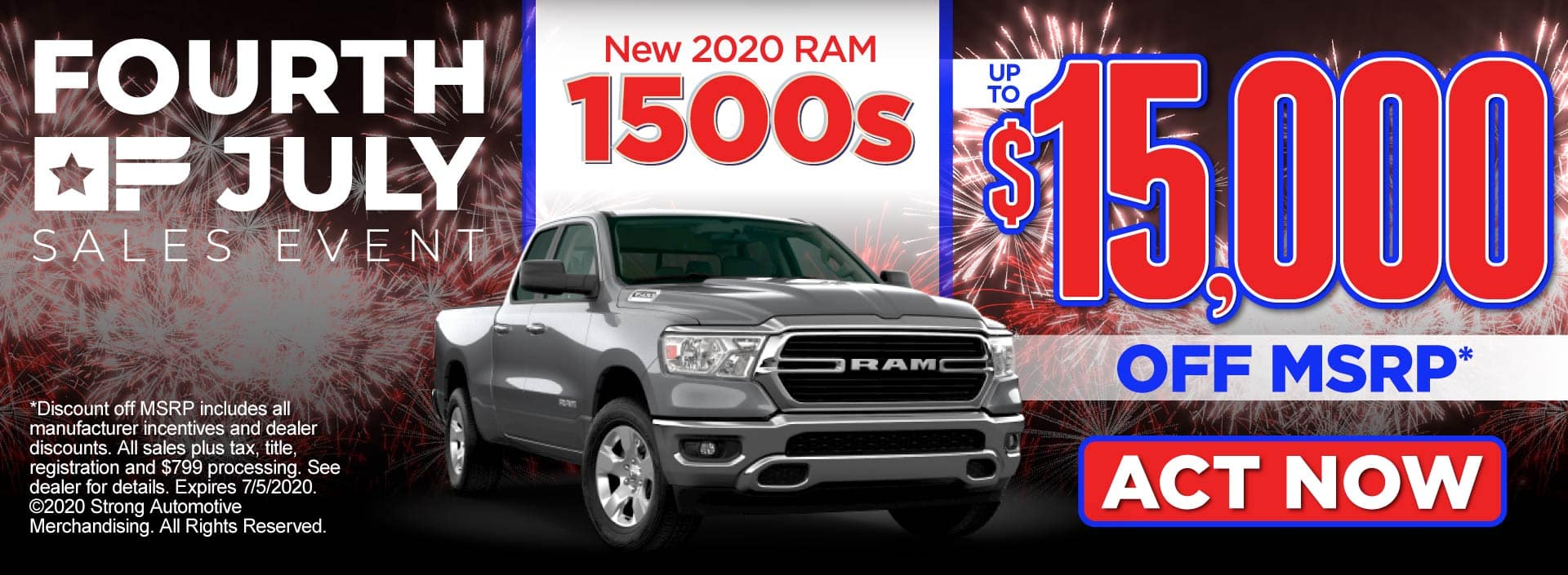 New 2020 RAM 1500s up to $15,000 off MSRP - Act Now