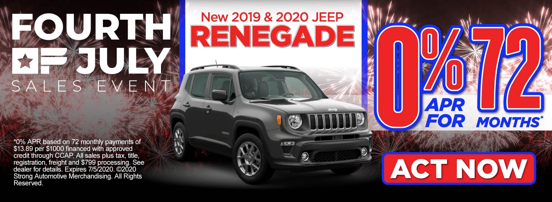 New 2019 & 2020 Jeep Renegade 0% APR for 72 Mos. - Act Now