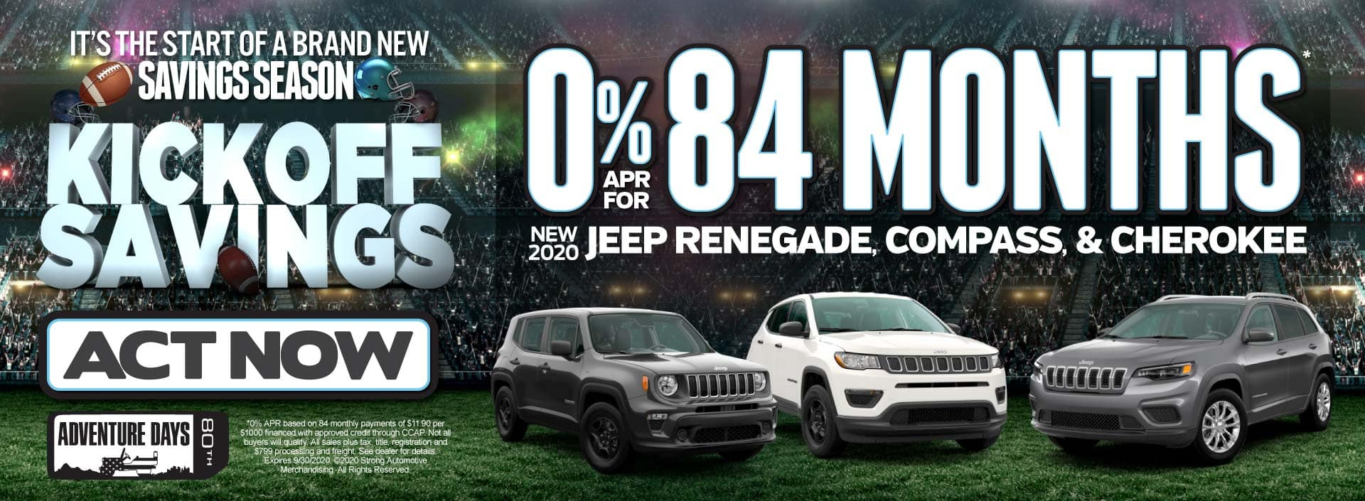0% APR for 84 months on New 2020 Jeep Renegade, Compass and Cherokee - ACT NOW