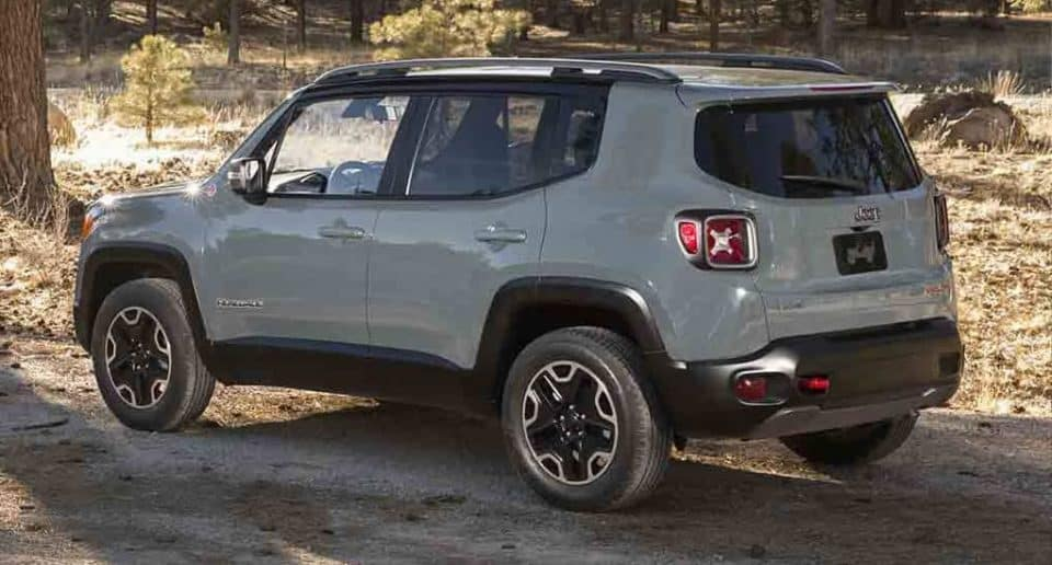 Jeep Renegade on a dirt trail